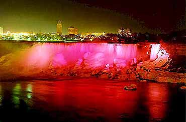 View of Niagara Falls on the American Side at Night